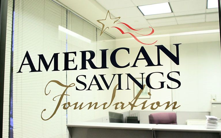 Window to the office of American Savings Foundation